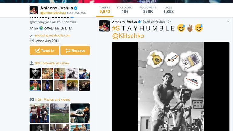 Anthony Joshua's social response to Wladimir Klitschko's dig (@anthonyfjoshua)