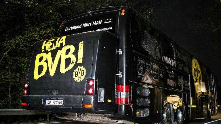 Borussia Dortmund's team bus was damaged in an explosion on Tuesday night