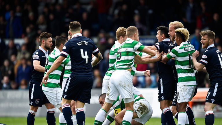 Scott Brown receives a red card for his challenge on Liam Boyce