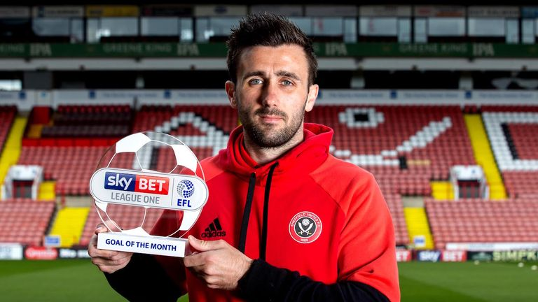 Daniel Lafferty of Sheffield United wins the Sky Bet League One Goal of the Month award