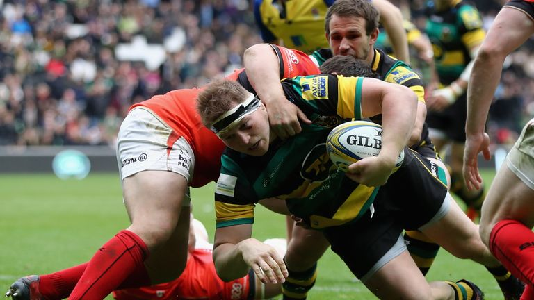Dylan Hartley scored a try in Northampton's loss to Saracens on Sunday