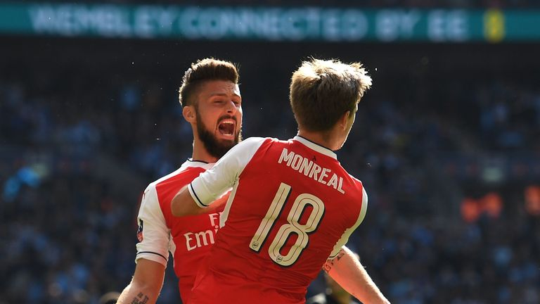 Nacho Monreal of Arsenal celebrates scoring his sides first goal with Olivier Giroud