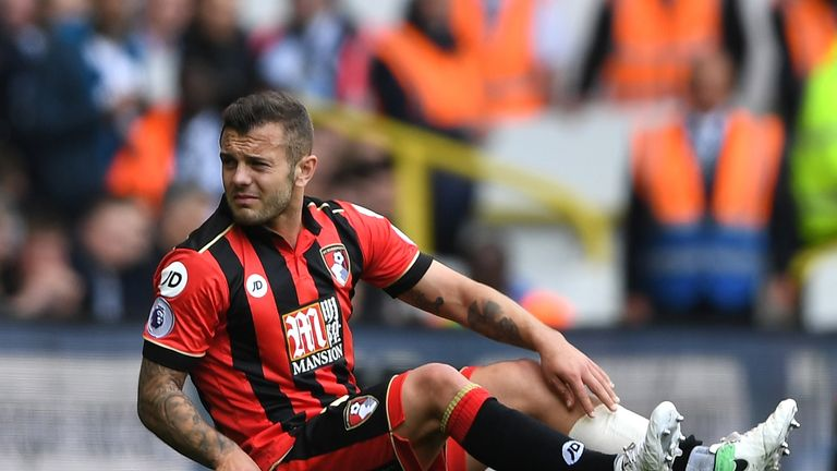 Jack Wilshere goes down injured against Tottenham