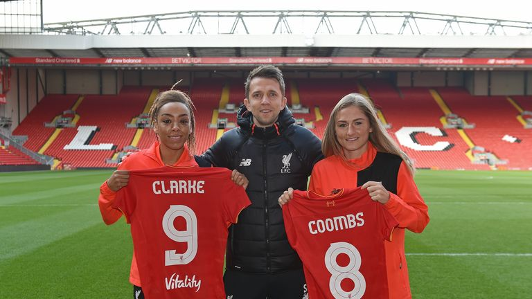 Jess Clarke (L) left County to join Liverpool Ladies earlier this month