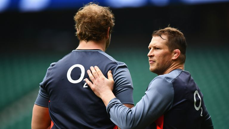England duo Joe Launchbury (L) and Dylan Hartley failed to make the Lions squad