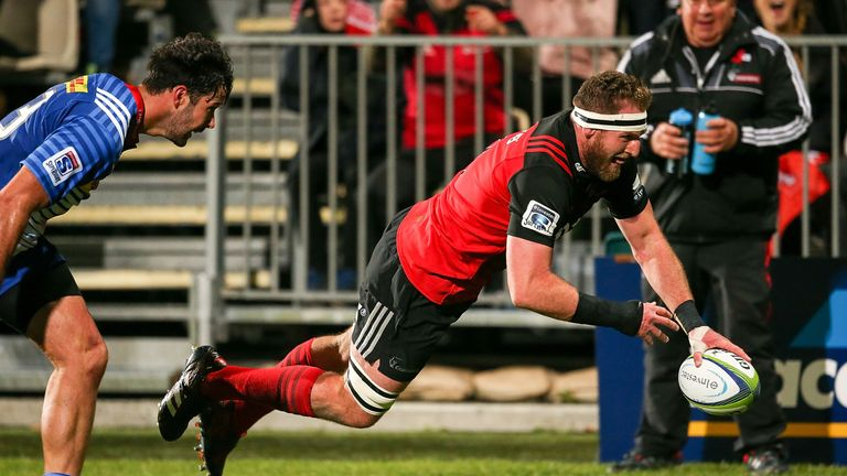 All Blacks captain Kieran Read touches down for the Crusaders