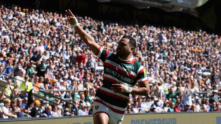 Telusa Veainu of  Leicester celebrates after scoring their second try