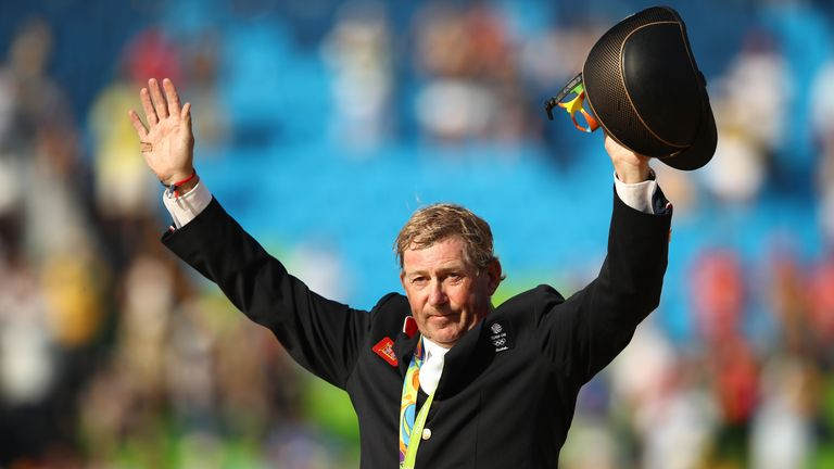 Nick Skelton celebrates receiving his Olympic Gold medal in Rio