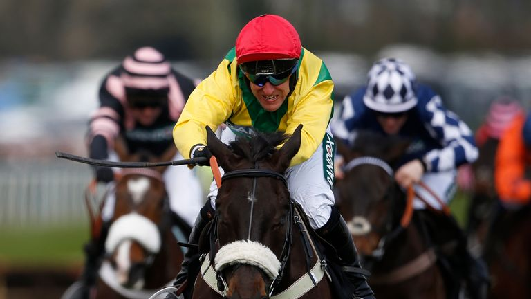 Robbie Power and Pingshou fend off their rivals to win the Crabbie's Top Novices' Hurdle at Aintree