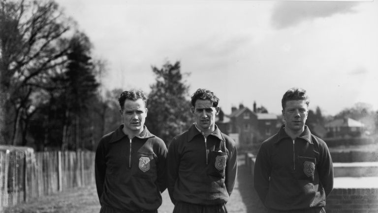Scottish football internationals W Thornton (left) and S Cox (centre) of Rangers with R Evans (right) of Celtic in 1949