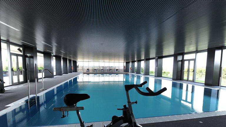 The swimming pool in the first-team residence is a place for the players to relax