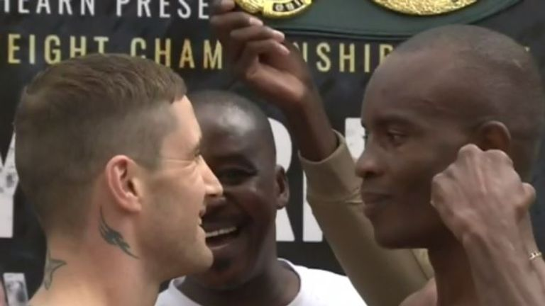 Burns weighed in at  9st 13lbs 4oz, with IBF champion Indongo coming in at 9st 13lbs 0.25oz on Friday