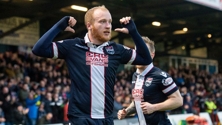Ross County's Liam Boyce celebrates his second goal of the night