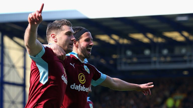 Sam Vokes celebrates scoring his side's leveller with George Boyd