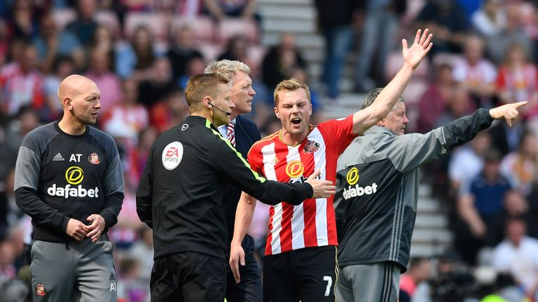 Sebastian Larsson was sent off against Manchester United