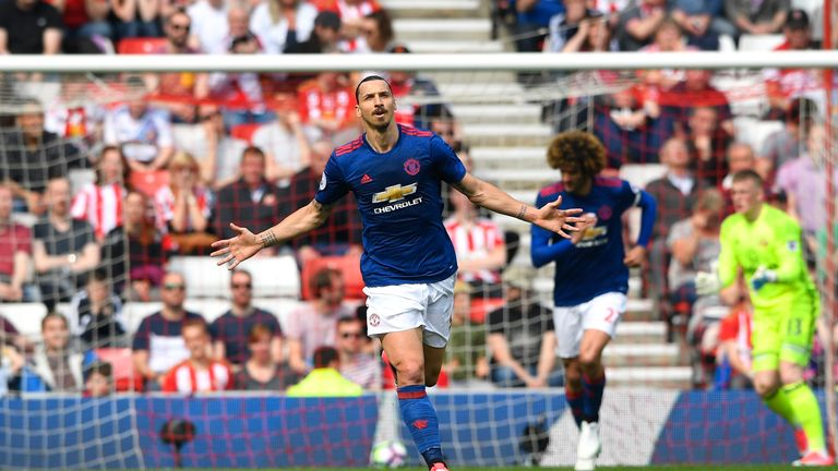 Ibrahimovic celebrates scoring the opening goal at the Stadium of Light