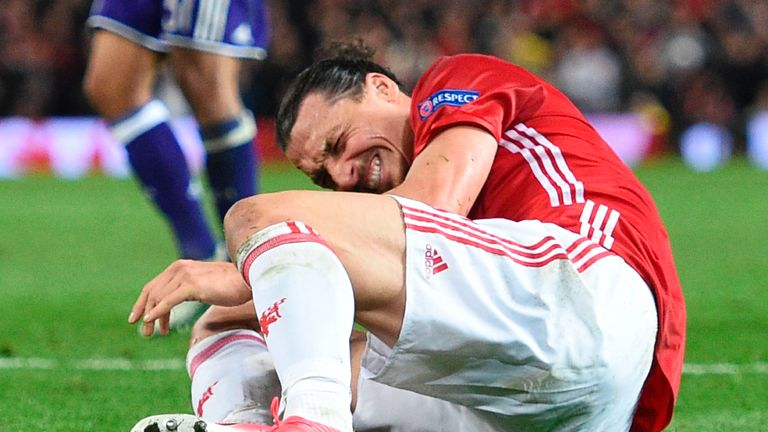 Zlatan Ibrahimovic appeared to fall awkwardly late in the second half