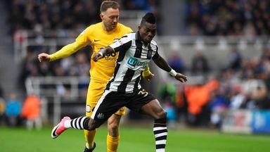 Christian Atsu of Newcastle United holds of Aidan McGeady of Preston North End