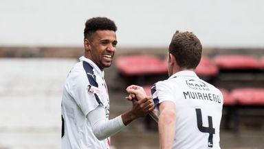 Falkirk's Nathan Austin (L) celebrates his goal with Aaron Muirhead