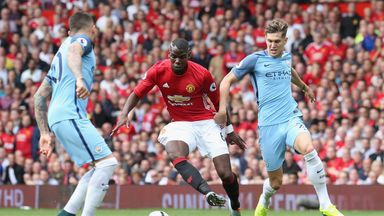 during the Premier League match between Manchester United and Manchester City at Old Trafford on September 10, 2016 in Manchester, England.
