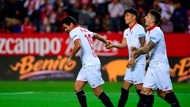 Ganso (left) celebrates after goal against Granada