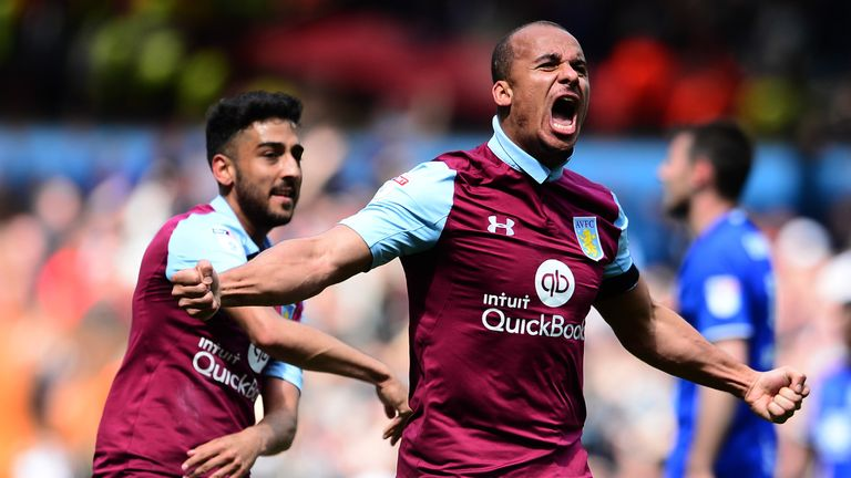 Aston Villa's Gabriel Agbonlahor celebrates scoring against Birmingham City