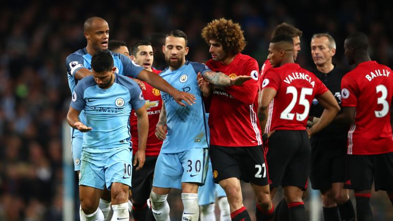 Marouane Fellaini was sent off for a headbutt on Sergio Aguero late on in the Manchester derby