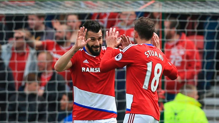 Alvaro Negredo (L) celebrates scoring the opening goal during the English Premier League football match between Middlesbrough and Manchester City
