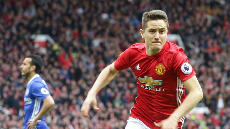 Ander Herrera celebrates his goal against Chelsea at Old Trafford on April 16