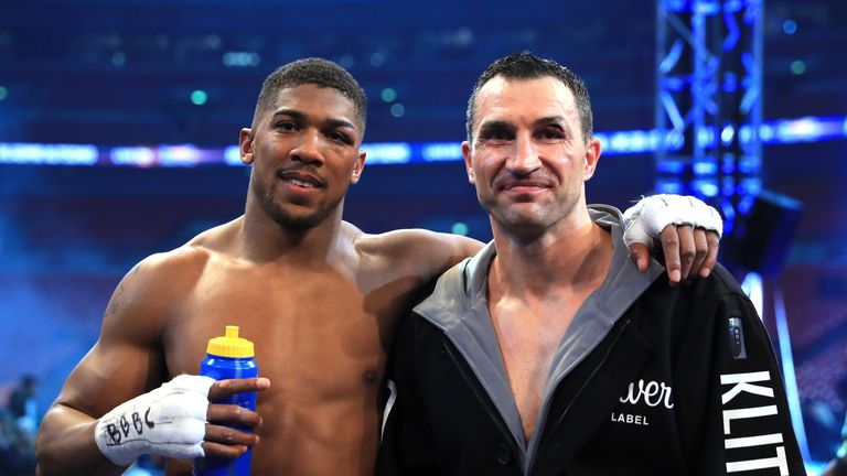 LONDON, ENGLAND - APRIL 29:  Winner, Anthony Joshua (L) stands with Wladimir Klitschko following the IBF, WBA and IBO Heavyweight World Title bout at Wembl