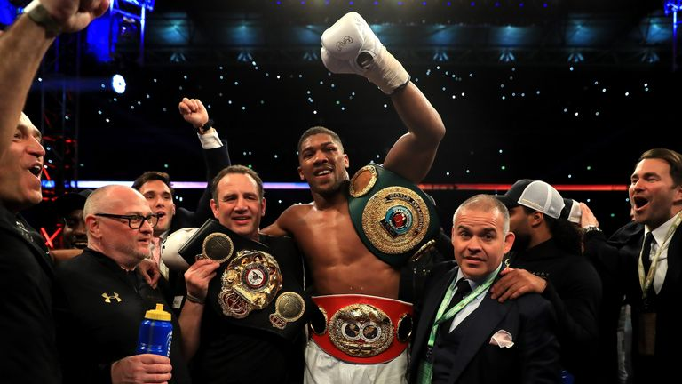 Anthony Joshua celebrates victory over Wladimir Klitschko in the IBF, WBA and IBO Heavyweight World Title bout at Wembley Stadium