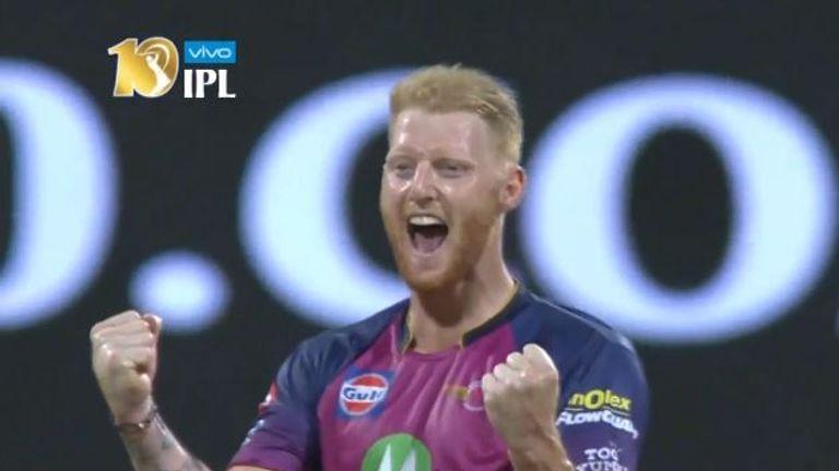 Ben Stokes celebrates the wicket of England team-mate Jos Buttler