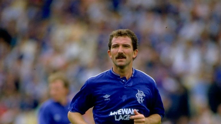 1990:  Graeme Souness of Rangers in action during the Scottish Premier League match against Aberdeen played at the Pittodrie in Aberdeen, Scotland.  Aberde