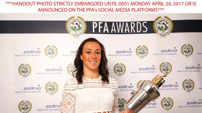 HANDOUT PHOTO STRICTLY EMBARGOED UNTIL 0001 MONDAY APRIL 24, 2017 OR IS ANNOUNCED ON THE PFA's SOCIAL MEDIA PLATFORMS of Manchester City's Lucy Bronze who