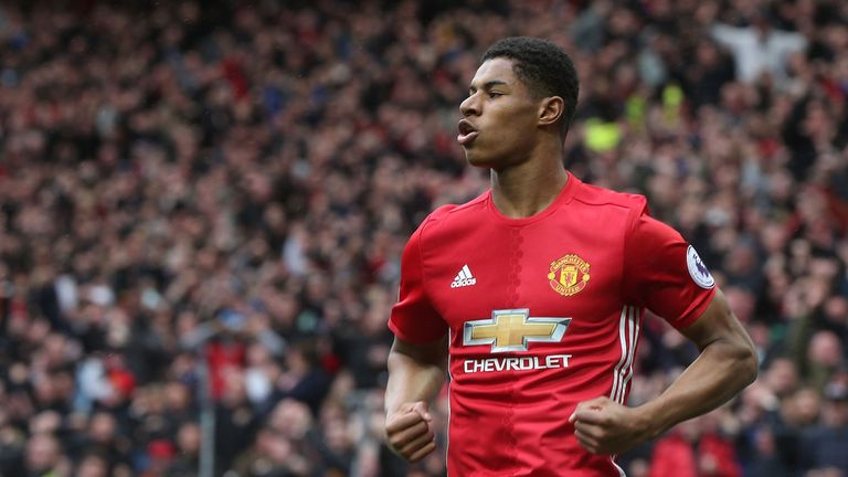 Marcus Rashford scored Manchester United's opener against Chelsea