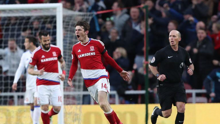 Marten de Roon celebrates after scoring for Middlesbrough against Sunderland