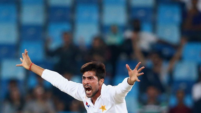 DUBAI, UNITED ARAB EMIRATES - OCTOBER 17:  Mohammad Amir of Pakistan reacts during Day Five of the First Test between Pakistan and West Indies at Dubai Int