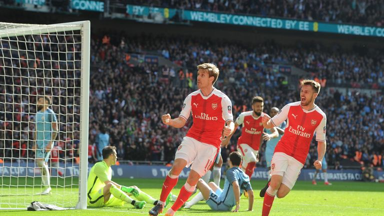 LONDON, ENGLAND - APRIL 23: of Arsenal during the Emirates FA Cup Semi-Final match between Arsenal and Manches