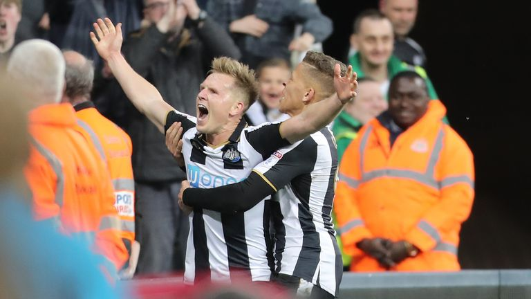 Newcastle United's Matt Richie celebrates scoring his side's first goal of the game during the Sky Bet Championship match at St James' Park, Newcastle.