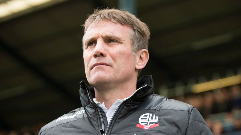OLDHAM, ENGLAND- APRIL 15: Phil Parkinson manager of Bolton Wanderers looks on during the Sky Bet League One match between Oldham Athletic and Bolton Wande