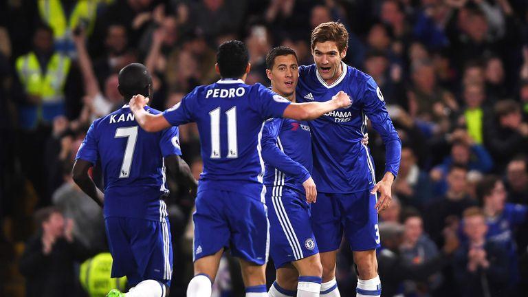Eden Hazard celebrates after scoring the opening goal of the game at Stamford Bridge