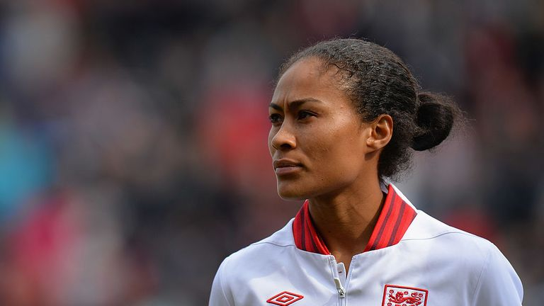 ROTHERHAM, ENGLAND - APRIL 07:  Rachel Yankey of England before the Women's International Match between England Women and Canada Women at The New York Stad