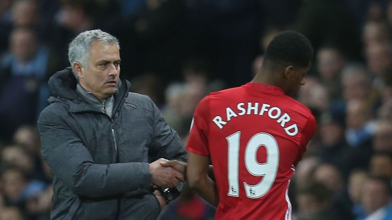 Jose Mourinho shakes Marcus Rashford's hand as he is subbed