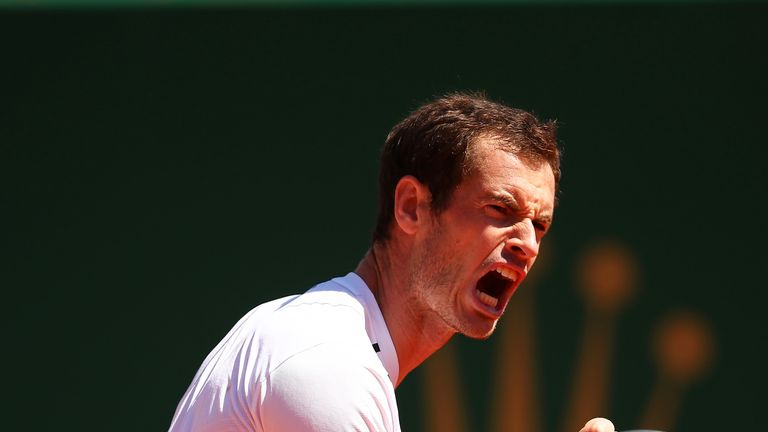 Andy Murray celebrates a point against Gilles Muller in their second round match at the Monte Carlo Masters