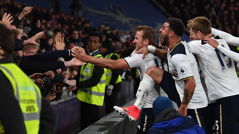 Tottenham players celebrate Christian Eriksen's winner at Selhurst Park