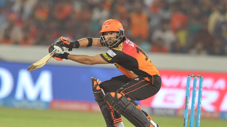 Sunrisers Hyderabad Yuvraj Singh plays a shot during the 2017 Indian Premier League (IPL) Twenty20 cricket match between Sunrisers Hyderabad and Royal Chal