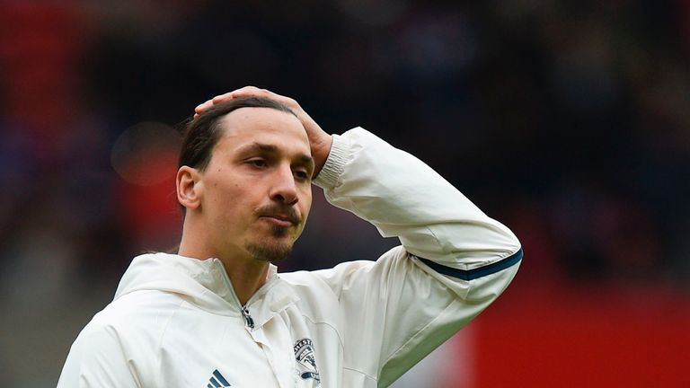 Manchester United striker Zlatan Ibrahimovic gestures prior to the Premier League match v Chelsea at Old Trafford