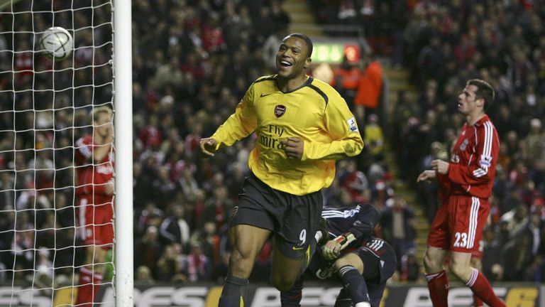 Julio Baptista scored four goals against Liverpool in a remarkable 6-3 win for Arsenal at Anfield in the League Cup