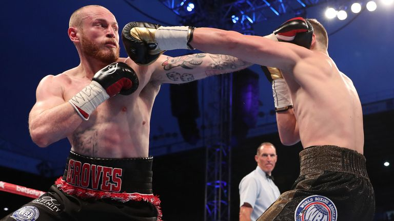 George Groves on his way to stopping Fedor Chudinov in the sixth round