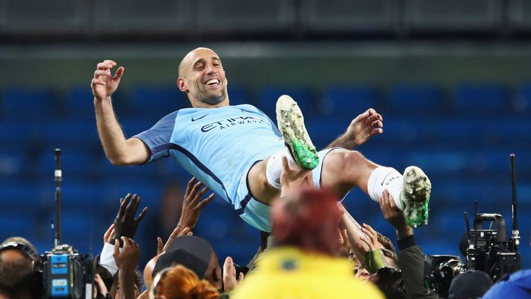 Zabaleta was given a huge send off by his Manchester City team-mates following his final match for the club